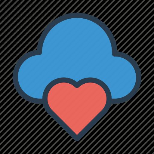 cloud, favorite, heart, love, server icon
