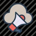 cloud, database, loud, megaphone, speaker