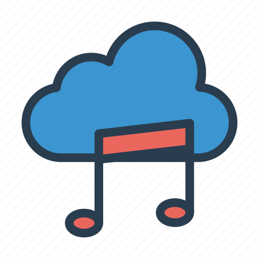 cloud, melody, music, server, storage icon