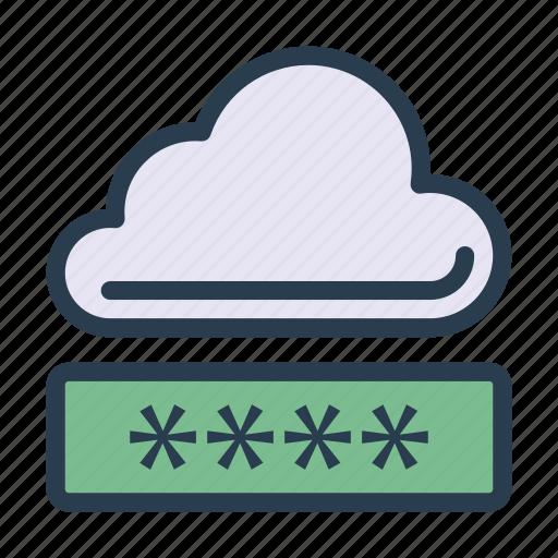 cloud, lock, password, secure, server icon
