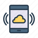 cloud, gadget, mobile, phone, server icon