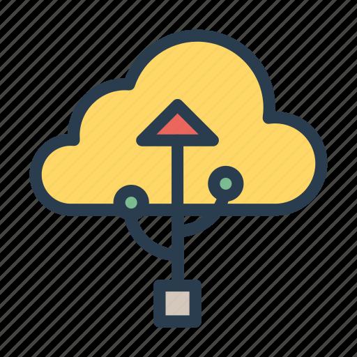 cloud, database, port, server, usb icon