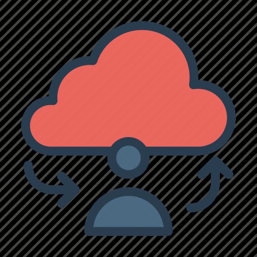 account, cloud, database, profile, server icon