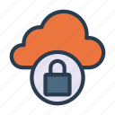 cloud, database, lock, protection, secure icon