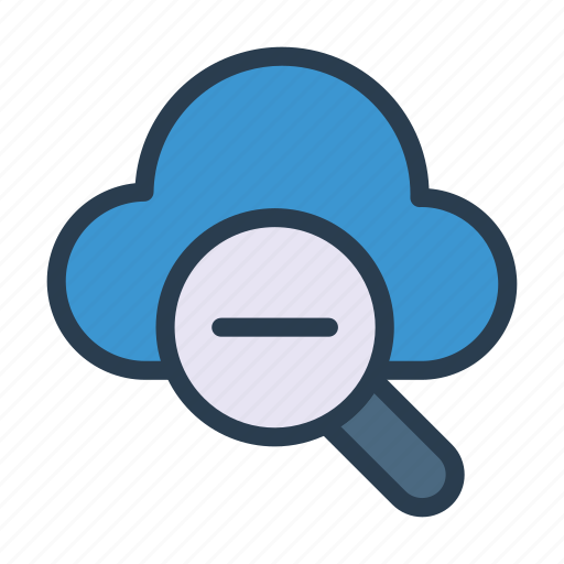 cloud, database, magnifier, remove, search icon