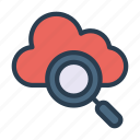 cloud, database, magnifier, search, storage icon