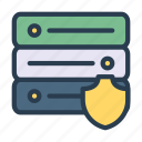 database, security, server, shield, storage icon