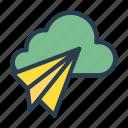 cloud, paperplane, send, server, storage icon