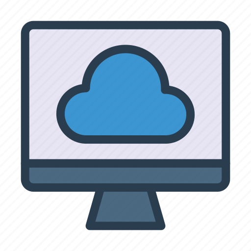 cloud, lcd, monitor, server, storage icon