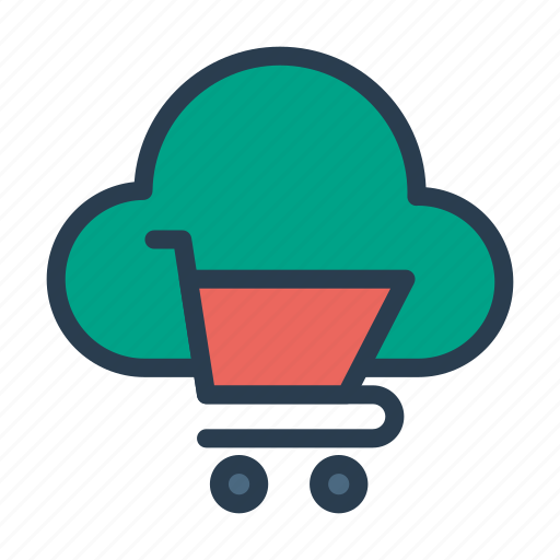 cart, cloud, database, shopping, trolley icon