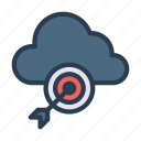 achievement, cloud, server, success, target icon