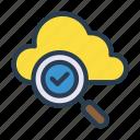check, cloud, magnifier, search, tick