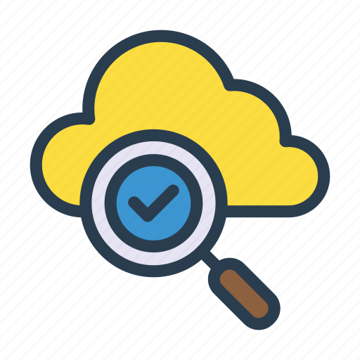 check, cloud, magnifier, search, tick icon