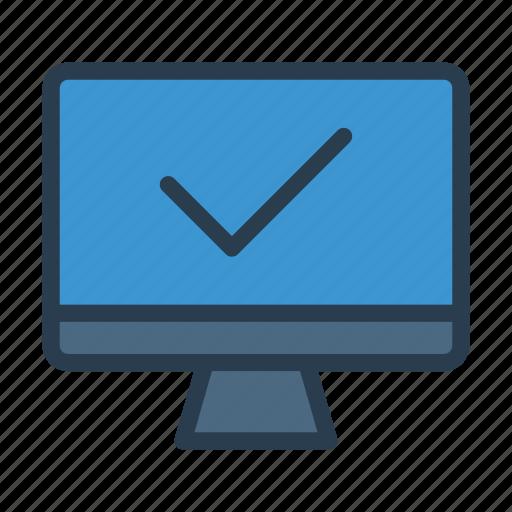 check, complete, lcd, monitor, tick icon