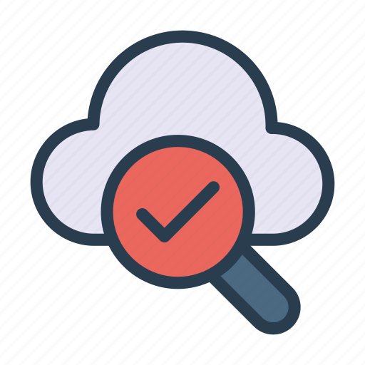 cloud, database, search, server, tick icon