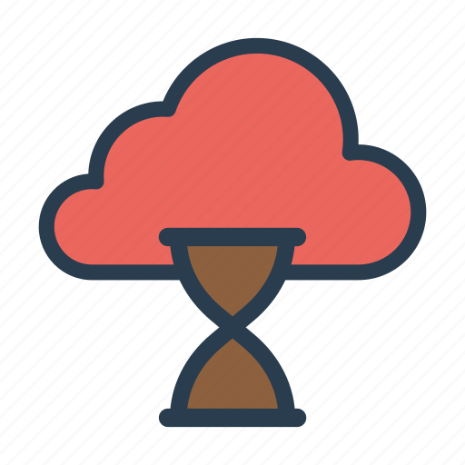 cloud, database, hourglass, server, timer icon
