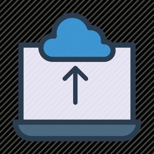 cloud, laptop, server, storage, upload icon