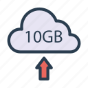 arrow, database, server, storage, upload icon