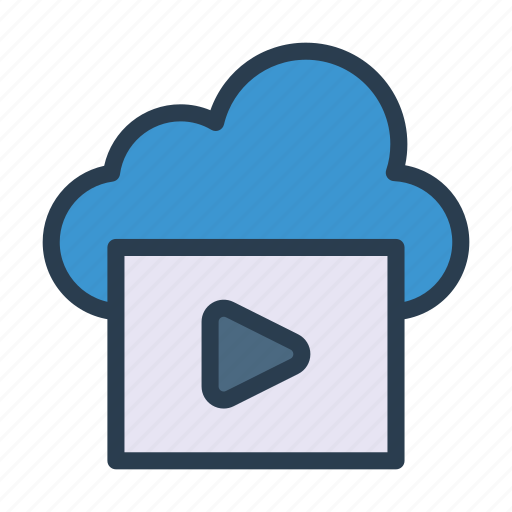 cloud, media, music, server, video icon