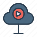 cloud, database, play, streaming, video icon
