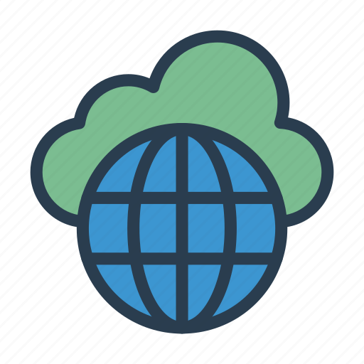 cloud, global, server, storage, world icon