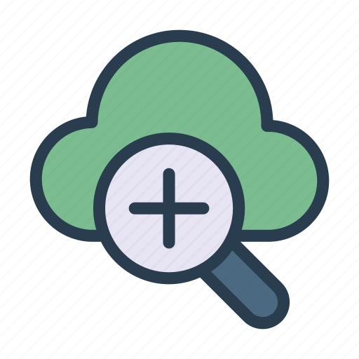 cloud, database, magnifier, server, zoom icon