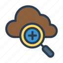 cloud, magnifier, search, server, zoom icon