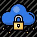locked, cloud, computing, protected, security, storage