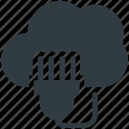 cloud computing, cloud connection, cloud network, internet hub, power cord icon