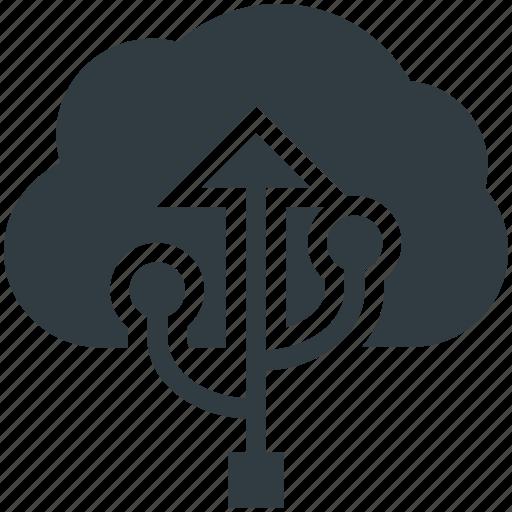 cloud computing, cloud storage, data storage, file storage, usb sign icon