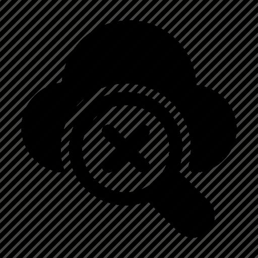 cloud, cross, magnifier, remove, search icon