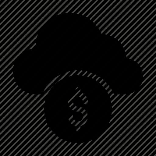 cash, cloud, dollar, money, server icon