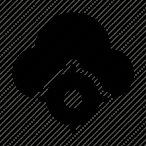cloud, database, focus, server, target icon