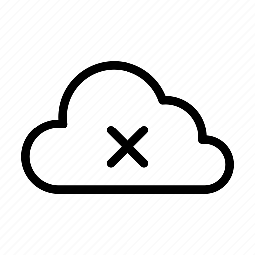 cloud, cross, database, delete, server icon