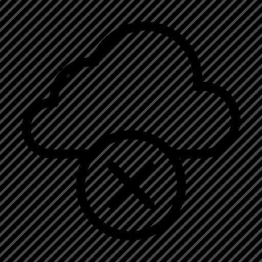 cloud, cross, database, delete, remove icon