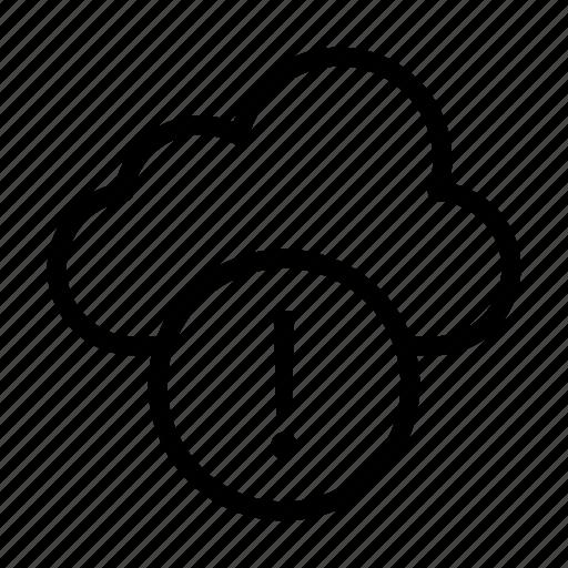 cloud, error, exclamation, notice, warning icon