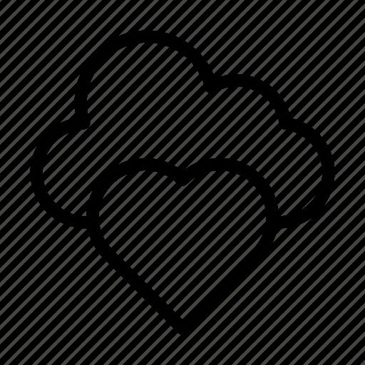 cloud, favorite, heart, like, love icon
