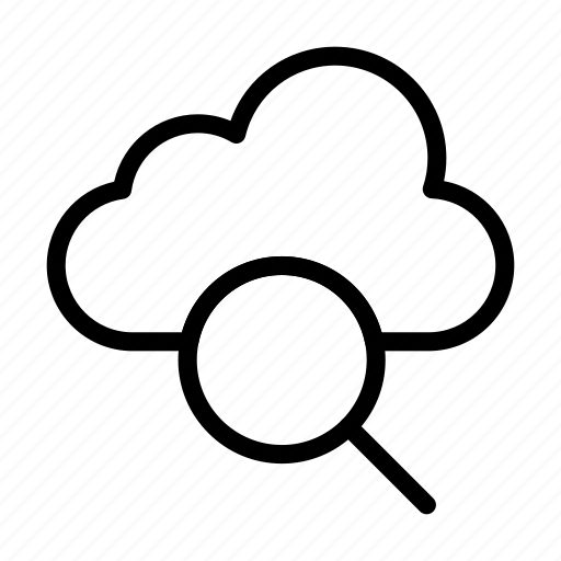 cloud, database, find, magnifier, search icon