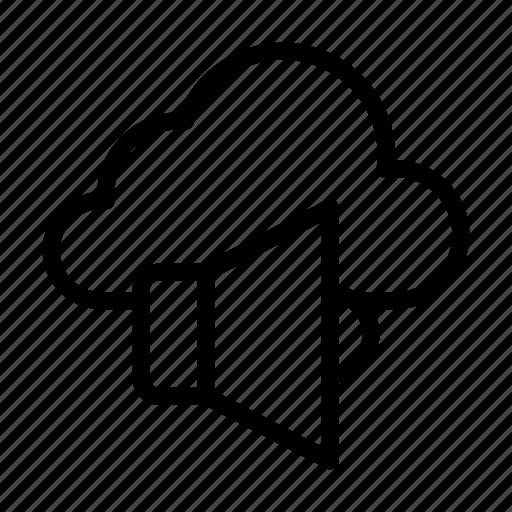 ads, cloud, loud, server, speaker icon
