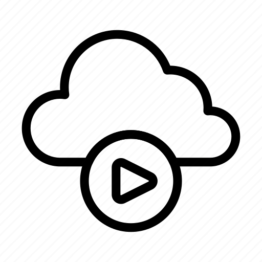 cloud, play, server, streaming, video icon