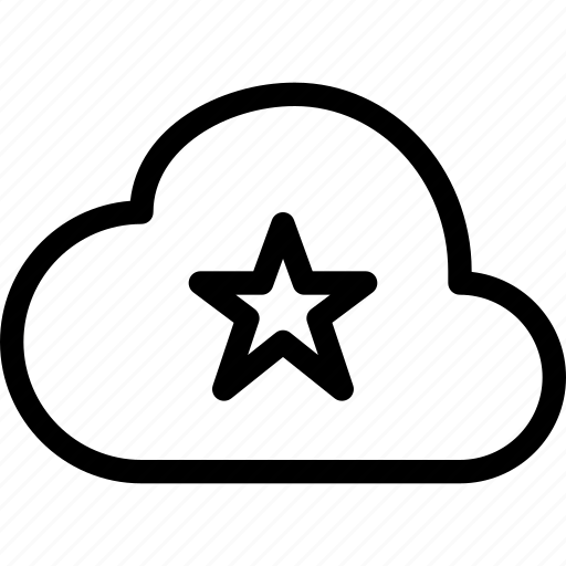 cloud, mark, star icon