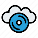 cloud cd, compact disc, disc, music, optical, storage icon