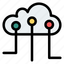 circuit, cloud, internet, server, upload icon