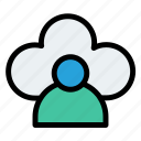 avatar, cloud, data, network, people, storage icon