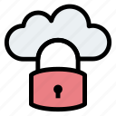 cloud, cloudy, padlock, security, server icon