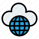 cloud, cloudy, earth, internet, rain, world icon