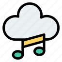 cloud, data, music, network, play, player icon