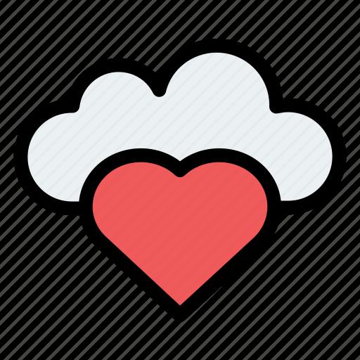 cloud, cloudy, forecast, heart, rain icon