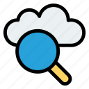 cloud magnifier, magnifier, searching icon