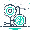 analytics, cogwheel, connection, connection process, integrate, process, technology icon